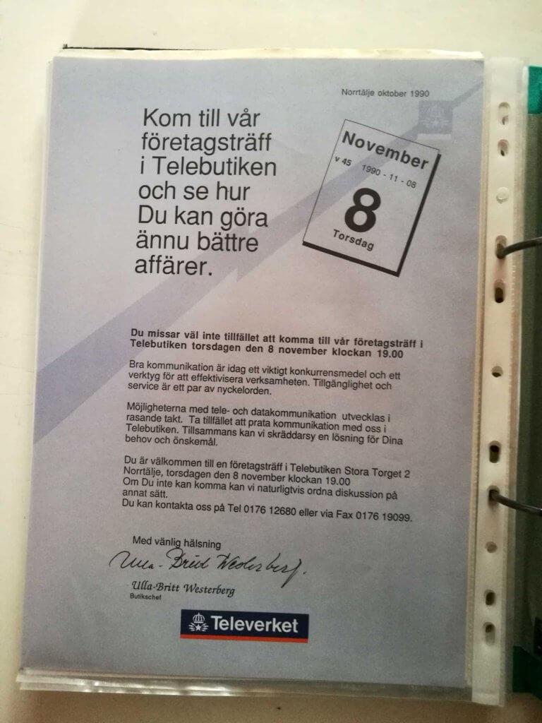 Inbjudan till företagsträff i Telebutiken 1990