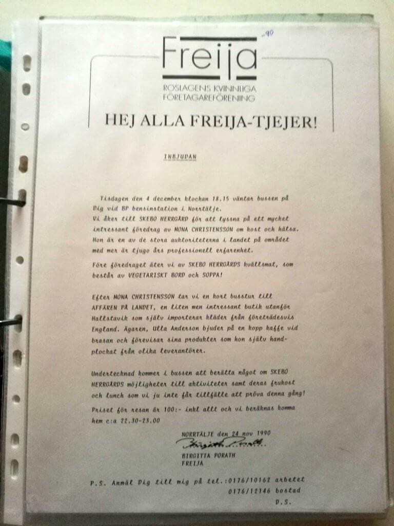 Inbjudan till Freijaträff på Skebo Herrgård 1990