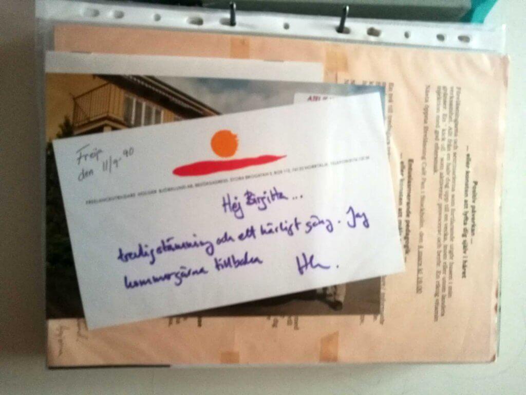 Tackbrev från Holger Björklund 1990
