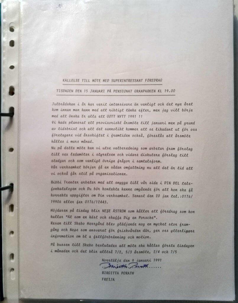 medlemsbrev januari 1991