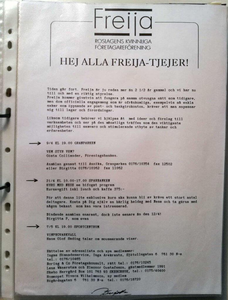Medlemsbrev mars 1991