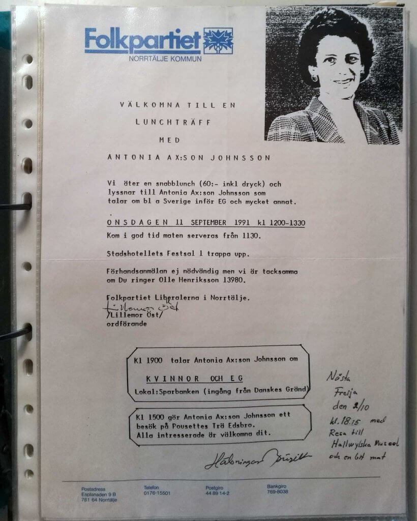 Inbjudan till lunchträff med Antonia Ax:son Johnsson 1991