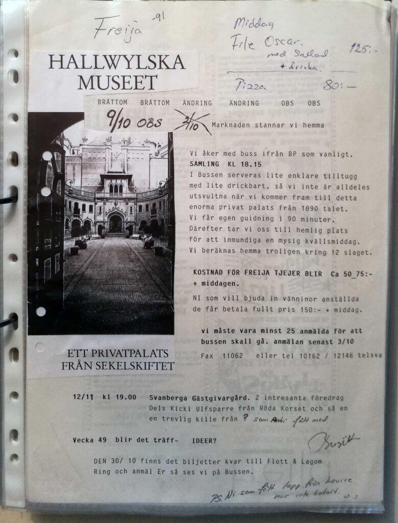 Inbjudan till Freijaträff, Hallwylska museet 1991