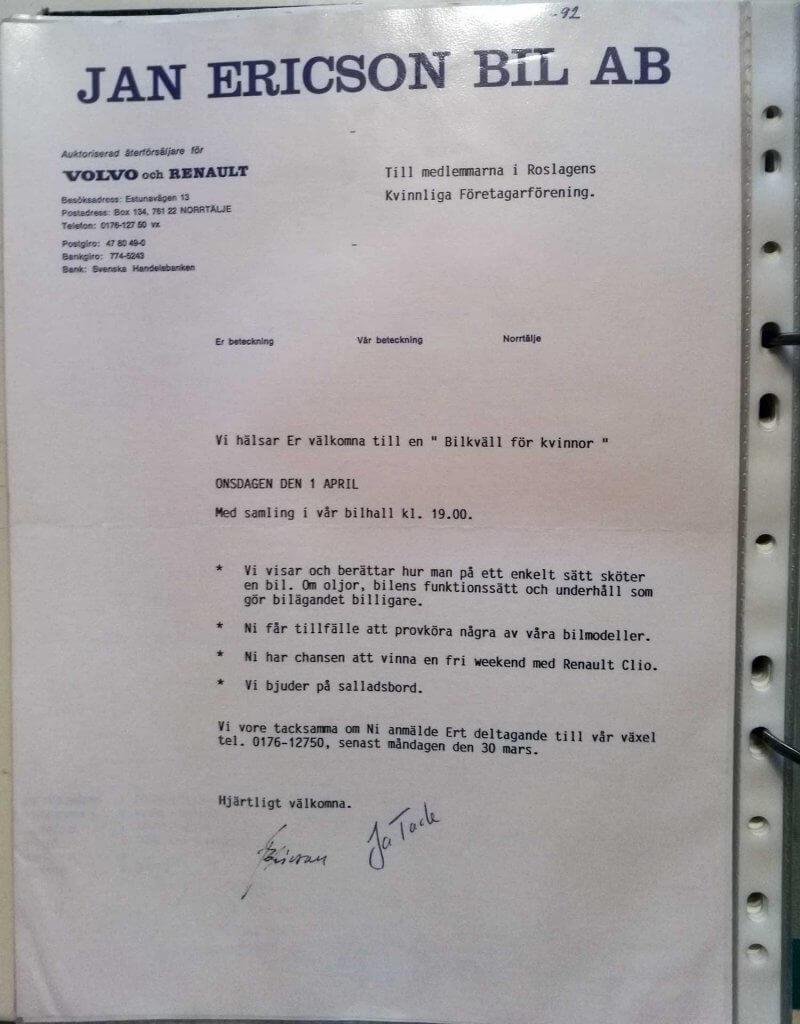 Inbjudan till bilkväll för kvinnor 1992