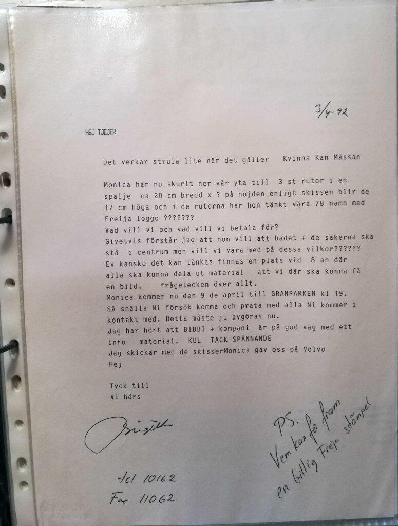 Brev från Birgitta 1992