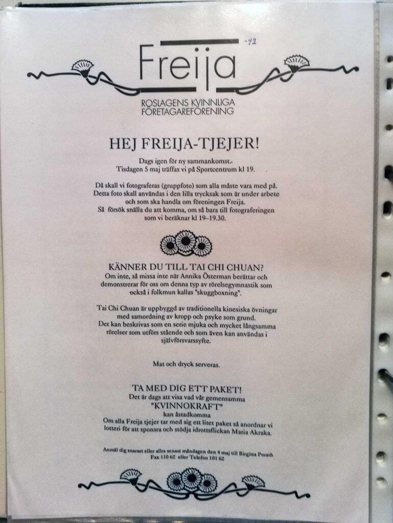 Inbjudan till Freijaträff på Sportcentrum