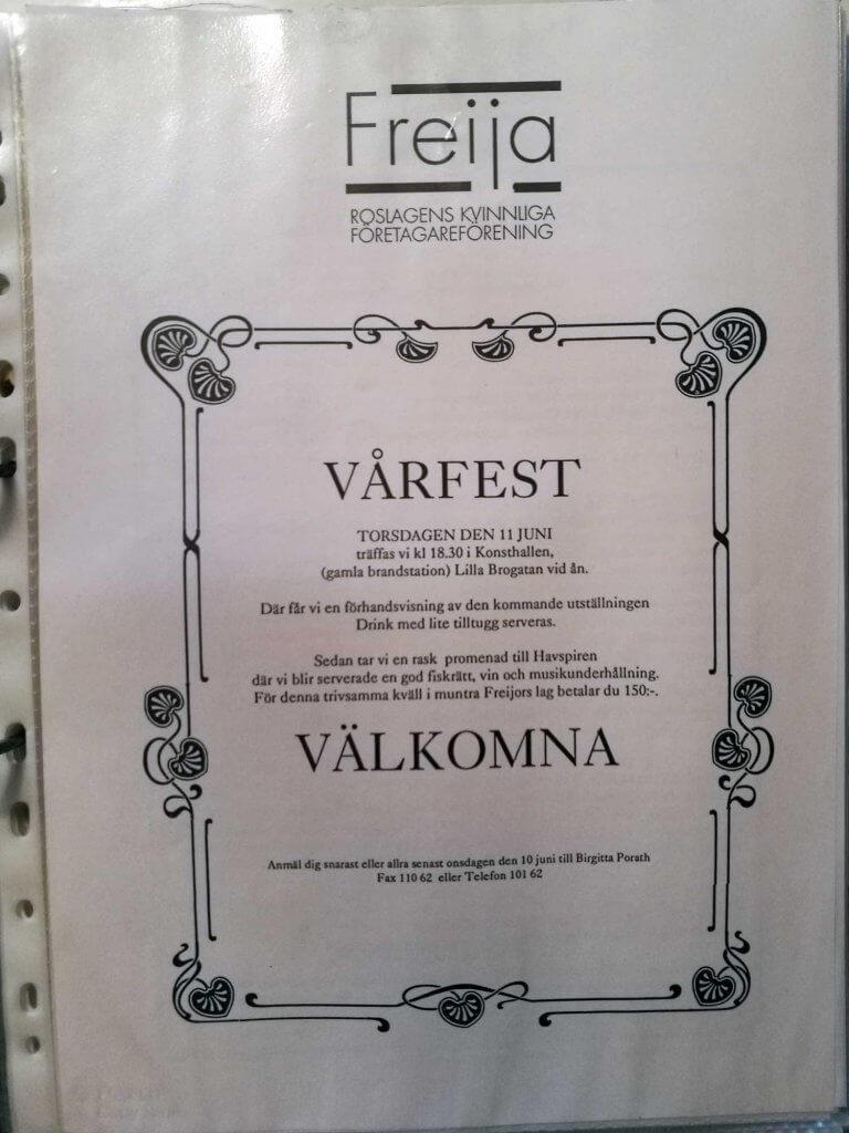 Inbjudan till vårfest 1992