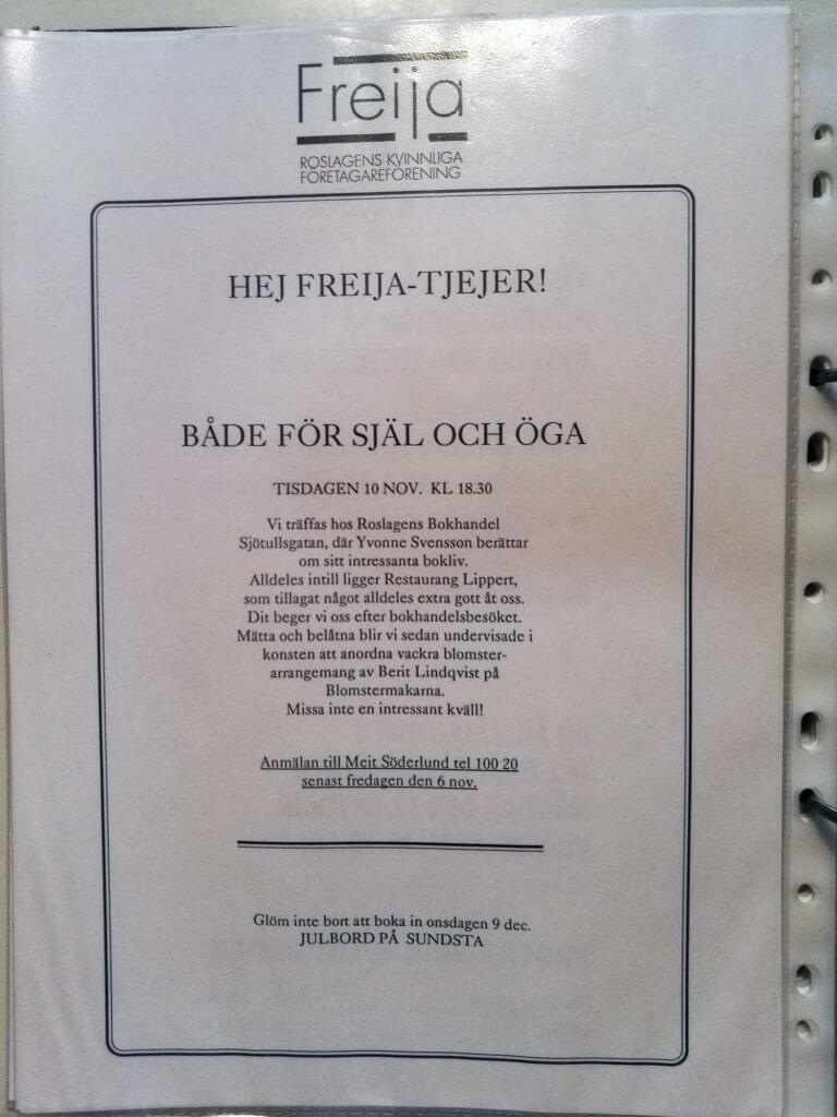 Inbjudan till Freijaträff på Roslagens Bokhandel