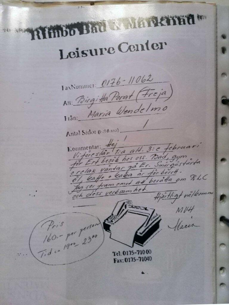 Inbjudan Leisure Center 1993