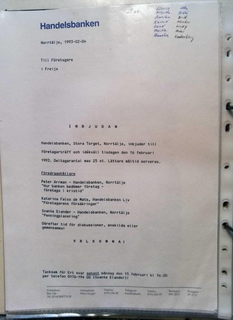inbjudan till företagarkväll 1993