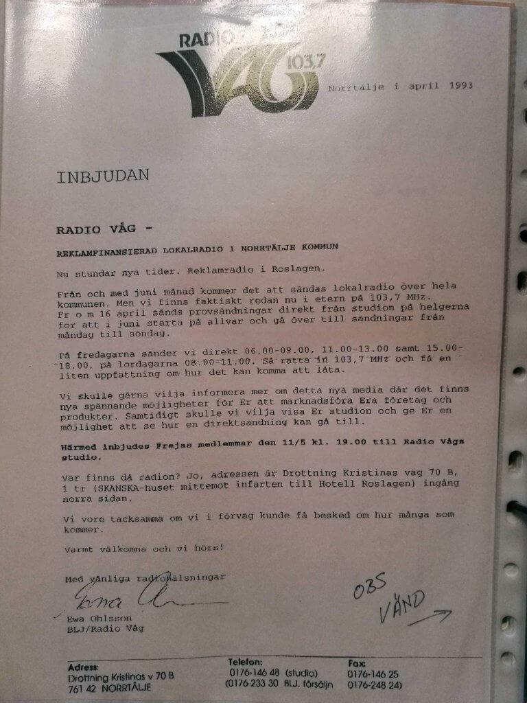 Inbjudan till Radio Våg 11/5 1993
